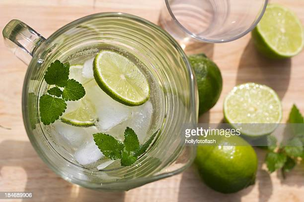 Fresh lime in iced water