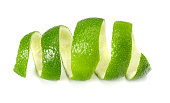 fresh lime peel isolated on white background. healthy food