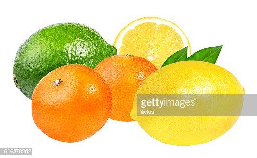 Fresh lime,mandarins and lemon isolated on white : Stock Photo