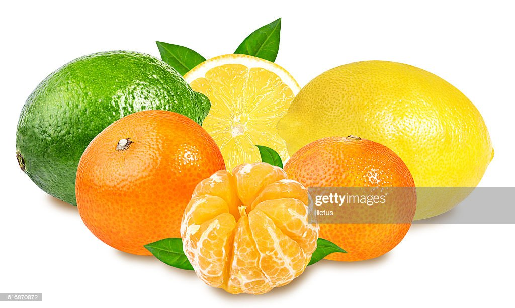 Fresh lime,mandarins and lemon isolated on white : Stock Photo