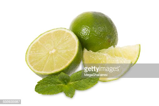 Fresh limes and mint : Stock Photo