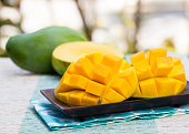 Fresh mango organic product on a tropical outdoor background Copy space