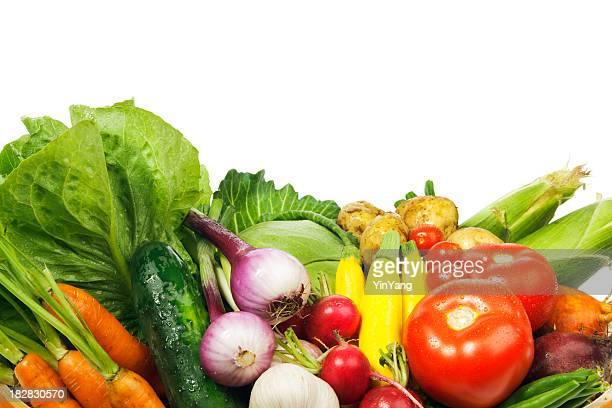 Marché frais fruits et légumes sur fond blanc encadrent frontière