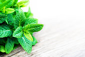 "Fresh mint leaf,  lemon balm herb on wooden background with copyspace, close up""n"