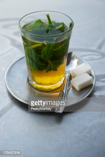 Fresh Mint Tea with Sugar Cubes