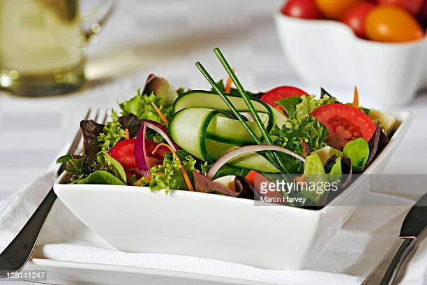 Fresh mixed salad with tomato, red onion, leafy greens, cucumber and cheese in white porcelain bowl.