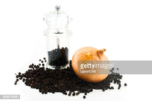 Fresh onion and Pepper Grinder with peppercorn : Stock Photo