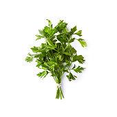 Fresh organic parsley on white background; flat lay; white background