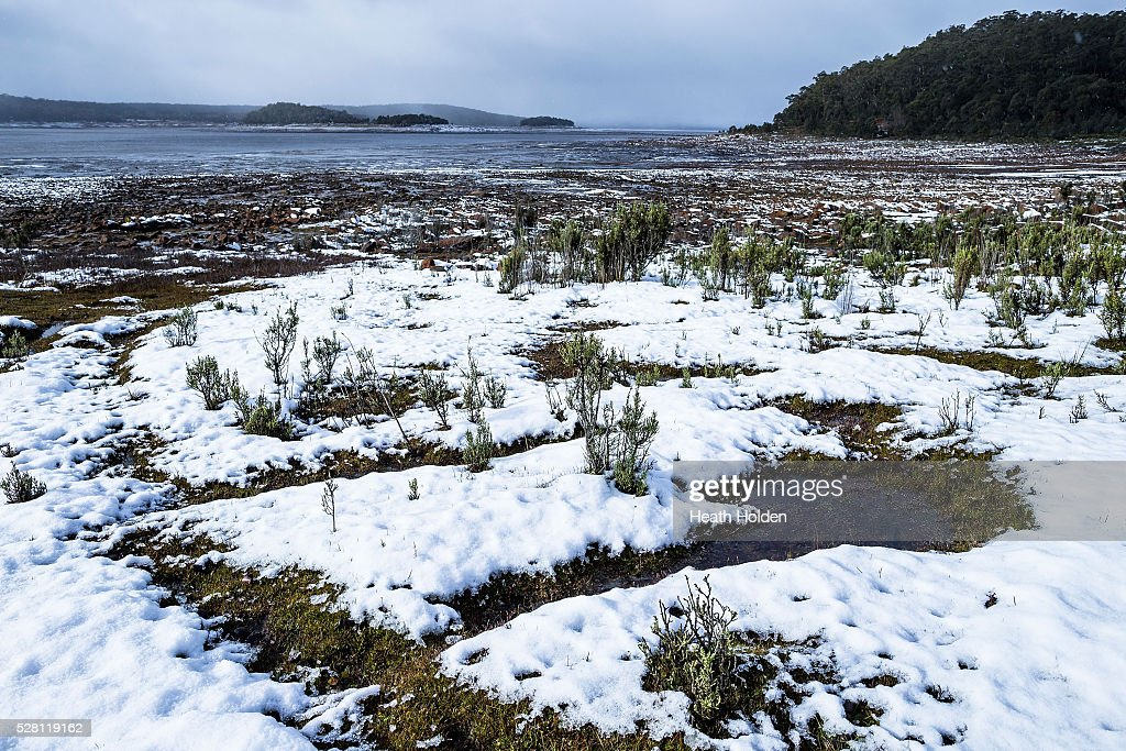 Fesh overnight snowfall lays around the shoreling on May 4, 2016 in Launceston, Australia. Heavy snow and rain fall in the area has seen much needed water flow into the lake. Tasmania's dams are at record lows due to lower than average rainfall with storage levels of dams used to generate hydro power below 15 per cent for the first time.