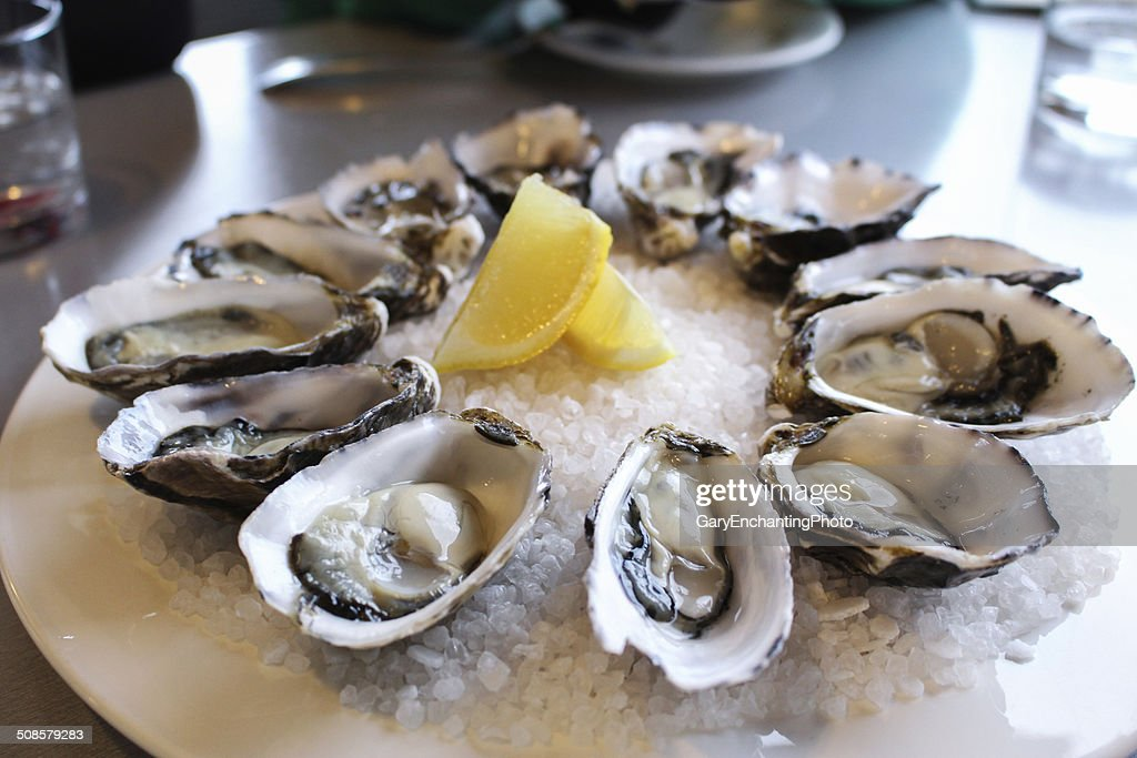 Fresh oysters : Stock Photo