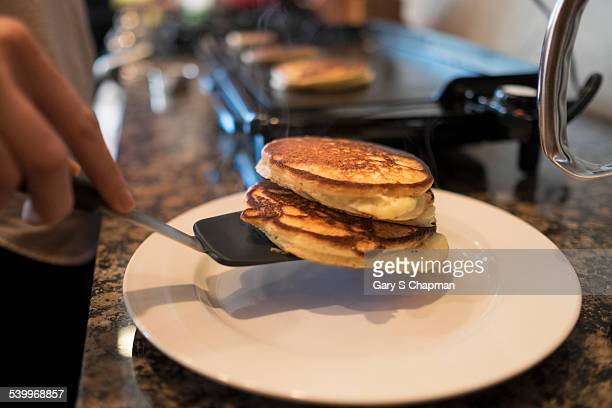 Fresh pancakes just off the griddle