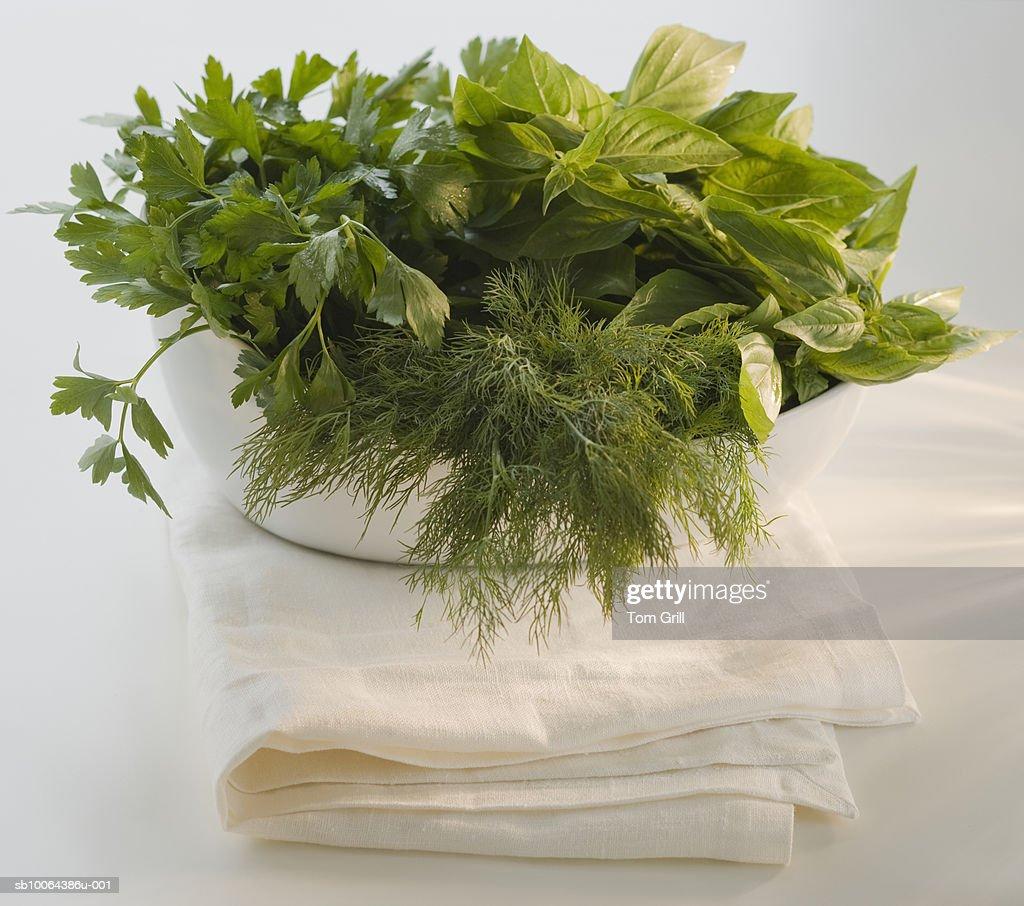 Fresh parsley, dill and basil herbs : Stock Photo