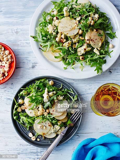 Fresh pear, blue cheese and hazelnut salad