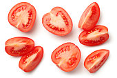 Fresh plum tomatoes isolated on white background with natural shadow. Top view