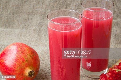 Fresh pomegranate juice : Stock Photo