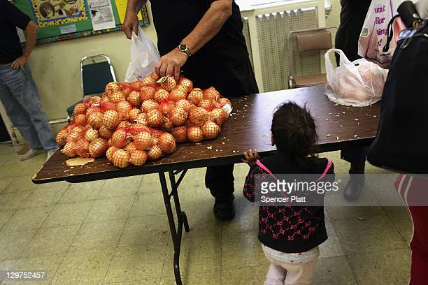 Fresh produce is viewed at the Central Park United Methodist Church weekly food pantry on October 19 2011 in Reading Pennsylvania The church feeds...