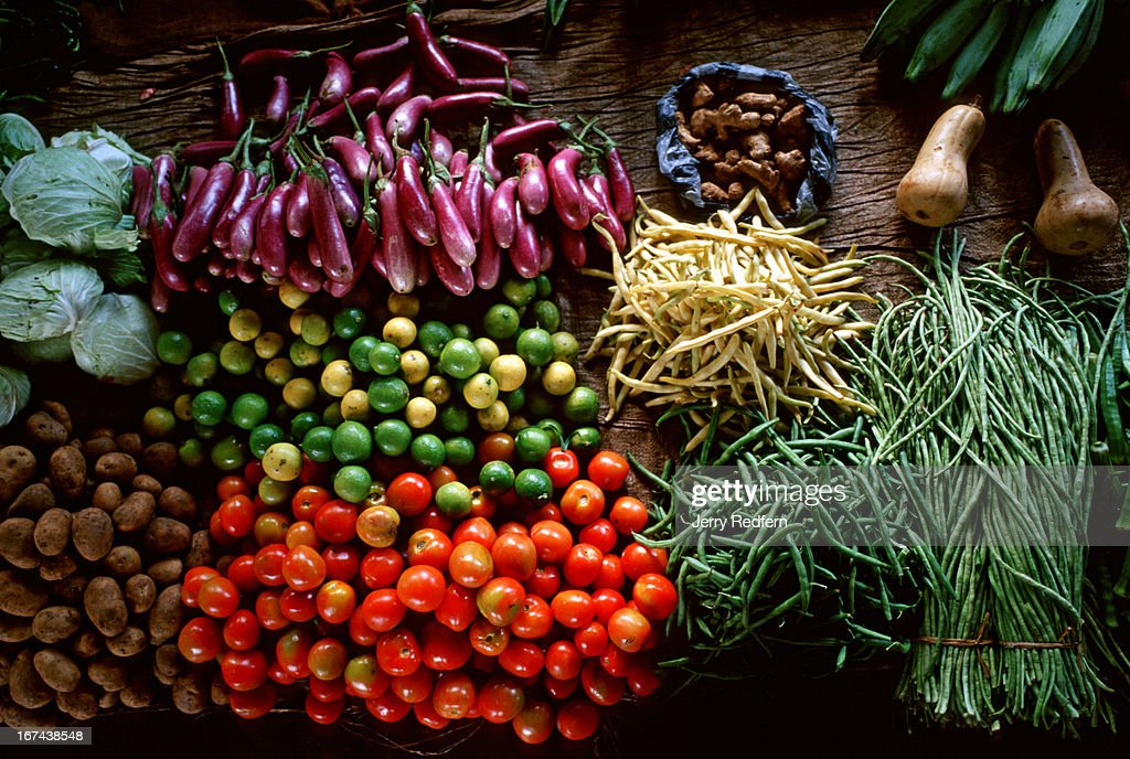 Fresh produce on display at the vegetable market in downtown Jaffna..