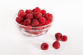 Fresh raspberries in a glass bowl.