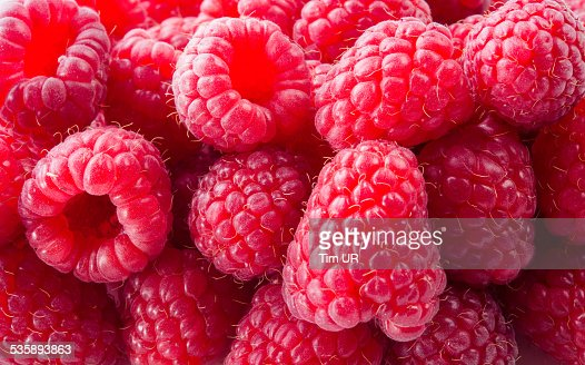 Fresh raspberry. Red background : Stock Photo