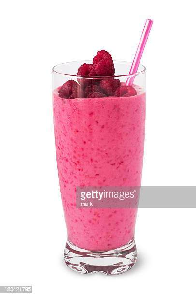 Fresh raspberry smoothie garnished with fresh berries on top