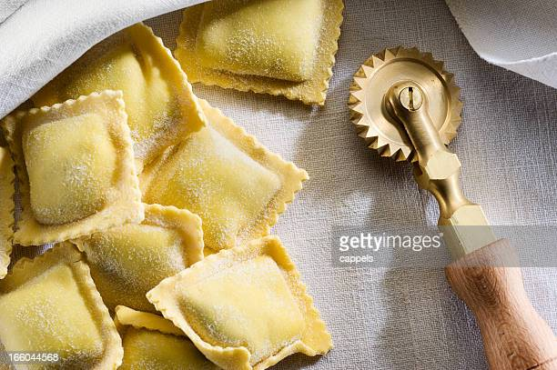 Fresh Ravioli With A Brass Cutter Wheel.Color Image