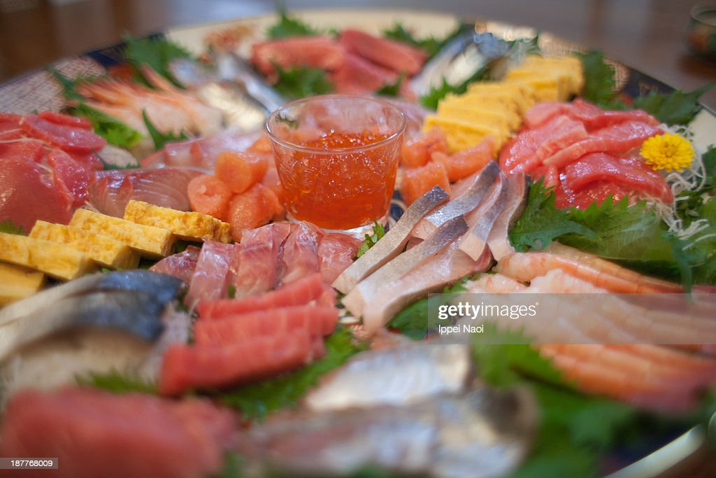 Fresh raw fish plate of Japanese winter fish : Stock Photo