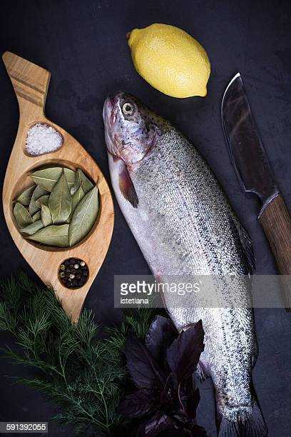 Fresh raw rainbow trout, top view