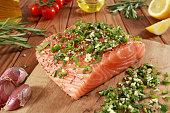 Fresh raw Salmon Fillet on cutting board