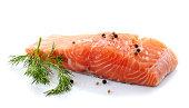 fresh raw salmon on a white background