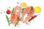 Fresh Raw Salmon Red Fish Steak on a White Background