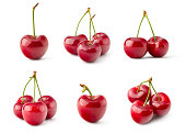 A Collection of Fresh Red Cherry Isolated on White Background in Full Depth of Field.