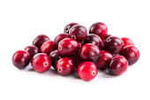 fresh red cranberries on white background