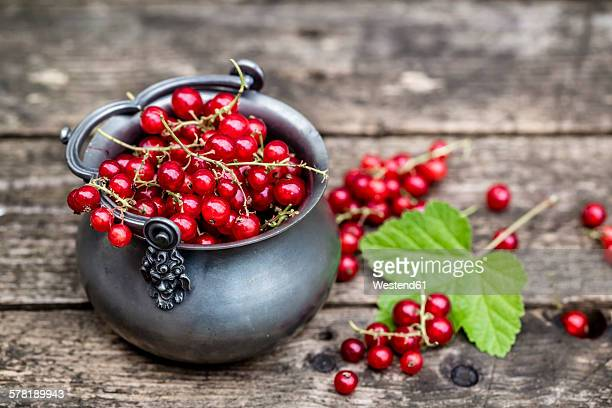 Fresh red currants in zinc bowl