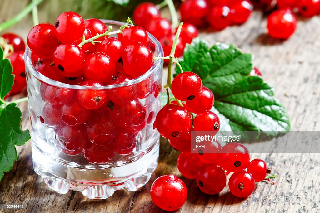 Fresh red currants with leaves in glass : Stock Photo