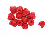 Group of fresh red ripe mellow raspberry berries isolated on white background, close up, elevated top view, high angle