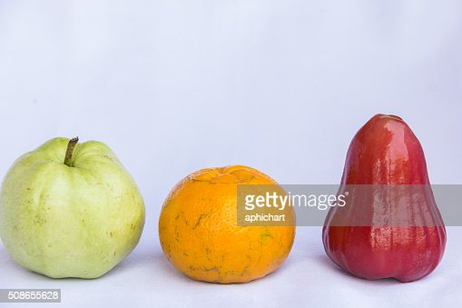 fresh red rose apple,orange and green guava clean fruit : Stock Photo