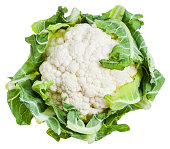 fresh ripe cauliflower isolated on white background