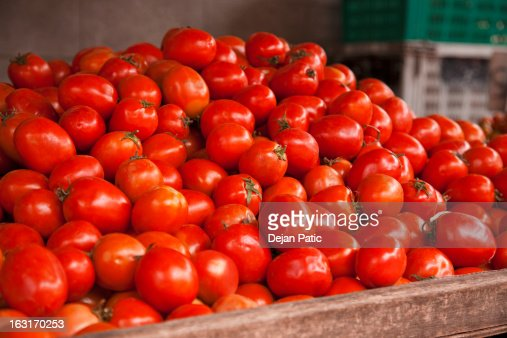 fresh ripe cherry tomatoes at farmers market : Stock Photo