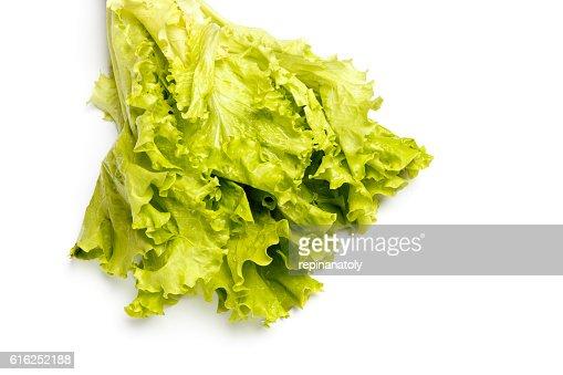 Frescas Salada de alface isolado a branco : Foto de stock