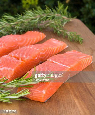 Fresh Salmon Fish Meat, Raw Seafood Fillets & Rosemary Herb : Stock Photo