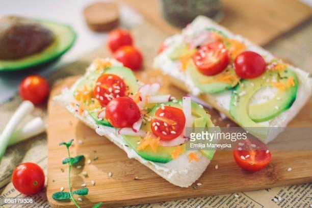 Fresh sandwiches with avocado and cherry tomato