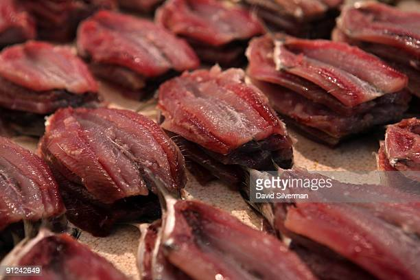 Fresh sardine fillets are displayed at the Mercado São Pedro the St Peter's fresh fish market on August 5 2009 in Niteroi in Brazil Stating in its...