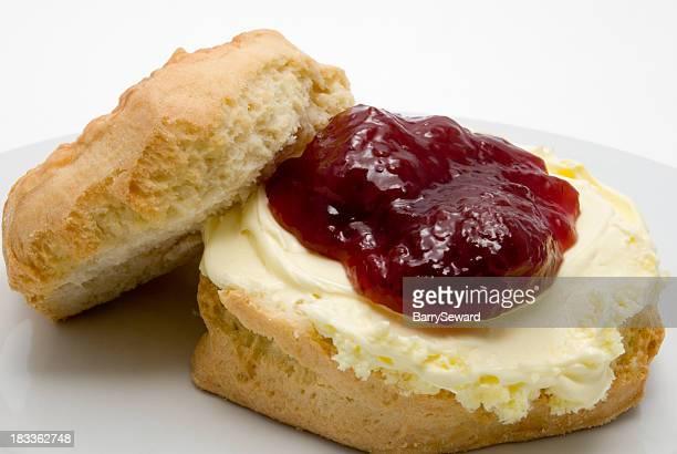 fresh scone with jam and cream