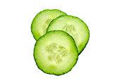 Fresh slice cucumber isolated on white background.