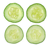 Fresh slice cucumber on white background