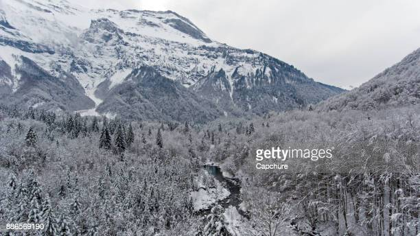 Fresh snow fall at the Sixt-Fer-à-Cheval, France