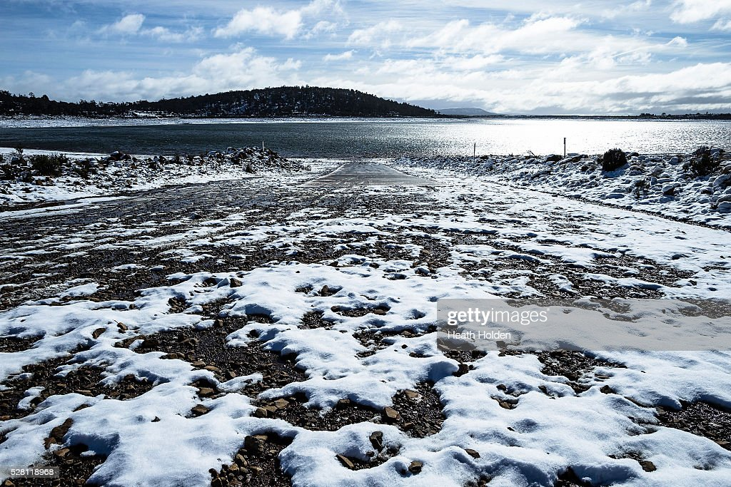 Fresh snow melt and rain start to trickle back into the lake on May 4, 2016 in Great Lake, Australia. Heavy snow and rain fall in the area has seen much needed water flow into the lake. Tasmania's dams are at record lows due to lower than average rainfall with storage levels of dams used to generate hydro power below 15 per cent for the first time.