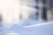 Newly fallen snow. Selective focus and shallow depth of field.