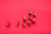 Fresh strawberries on trendy background. Color 2019, Close-up, copy space