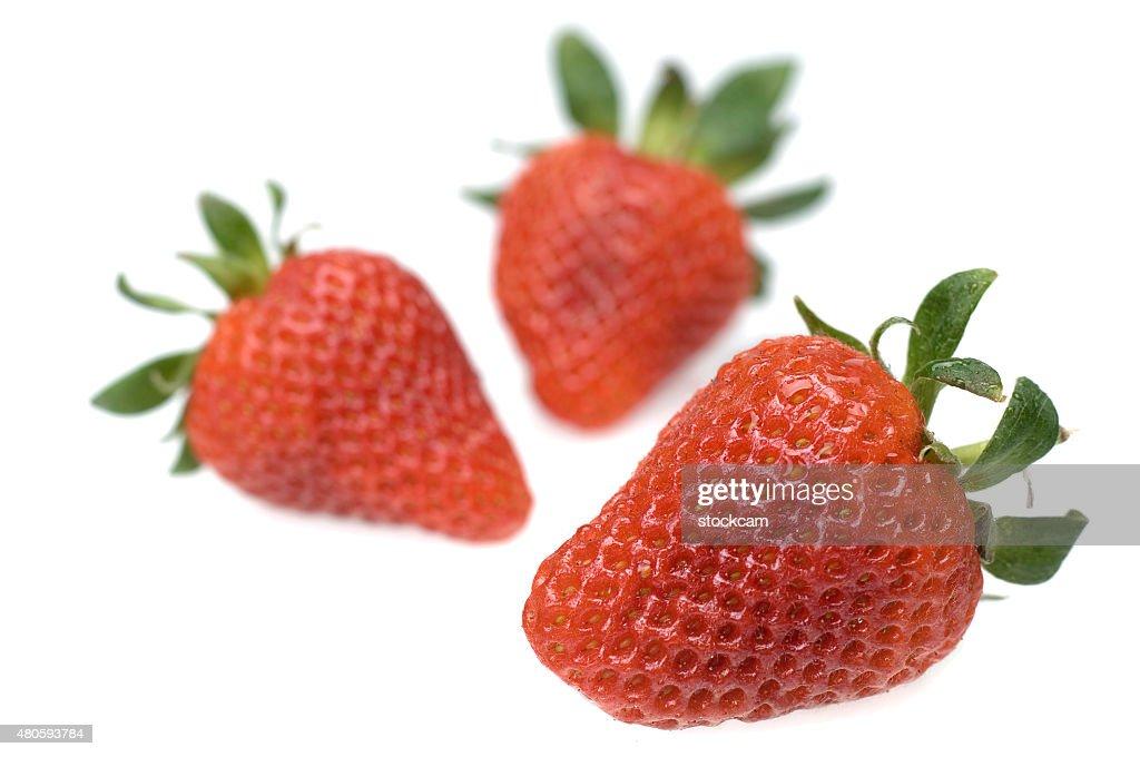 Fresh strawberries on white background : Stock Photo